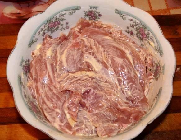 Порежьте курятину тонкими пластинками. Смешайте майонез с перцем и солью, и замаринуйте мясо в этой смеси на 20 минут.