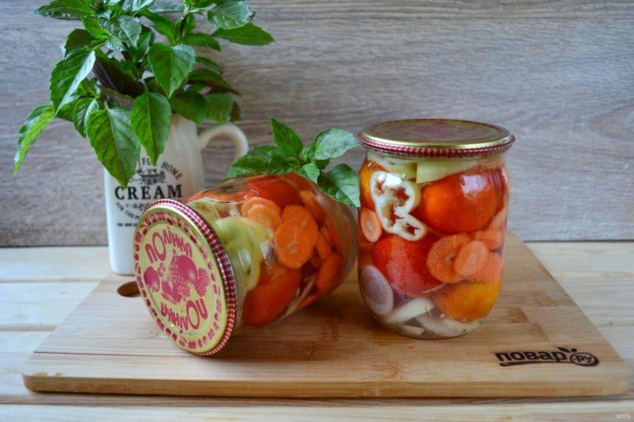 Маринованные помидоры в желе готовы, получилось очень вкусно и ярко!