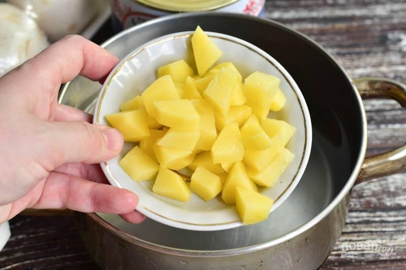 В кастрюлю налейте воду, добавьте соль. Очистите, нарежьте и выложите в кастрюлю картофель.
