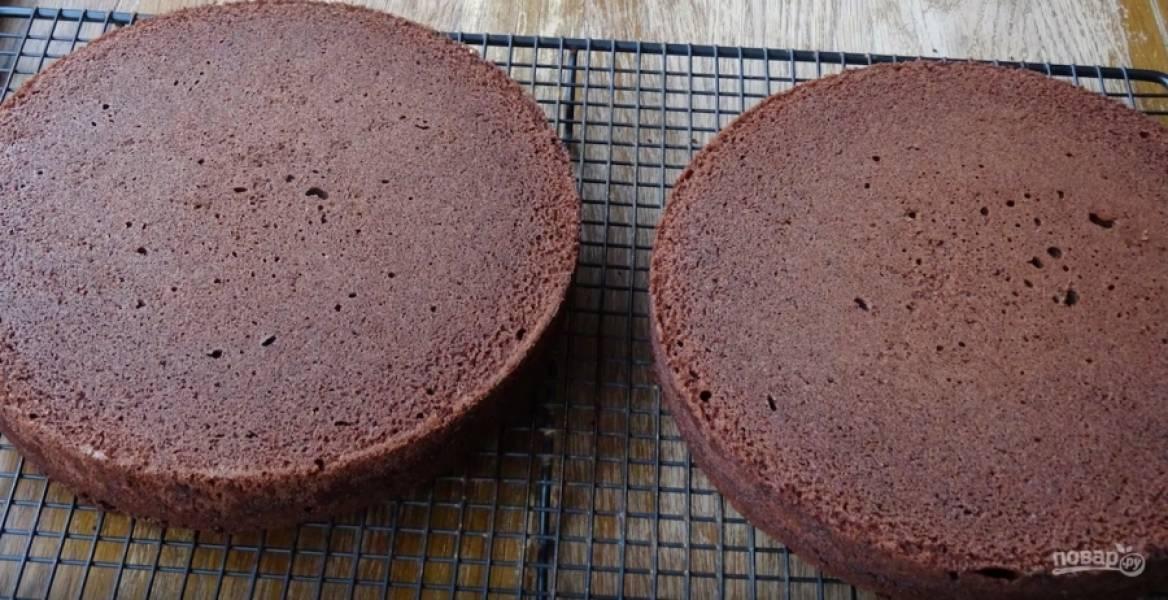 Поставьте формы в заранее разогретую до 180 градусов духовке. Выпекайте бисквиты на протяжении 25-30 минут. Как только они будут готовы, достаньте их из форм и оставьте до полного остывания. В это время давайте сделаем крем. Для этого размягченное сливочное масло выложите в миску. К нему добавьте молоко, просейте какао с сахарной пудрой. На небольшой скорости начинайте смешивать ингредиенты миксером. Через пару минут увеличьте скорость и мешайте ещё на протяжение 3-5 минут.