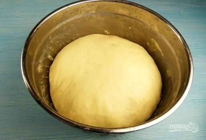 3.Тесто в миске накрываю полотенцем и оставляю при комнатной температуре на 1,5-2 часа, затем обминаю его и оставляю еще на 20-30 минут.