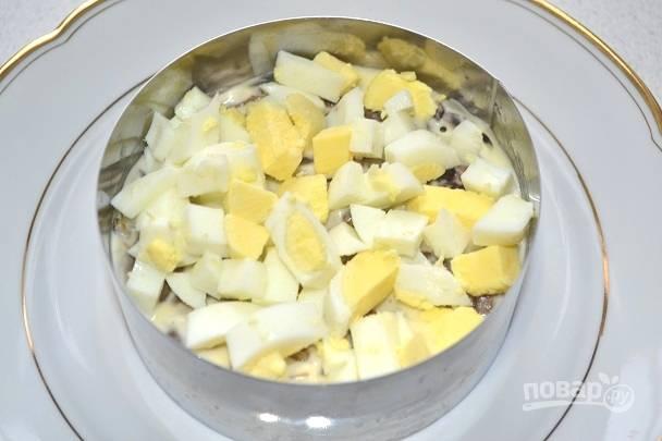 12. Ровным слоем выкладываем яйца и смазываем майонезом.