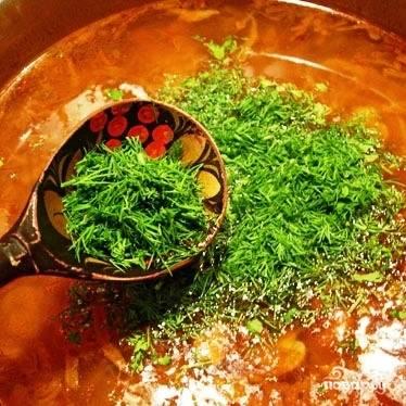 Вновь доводим до легкого кипения и выходим на финишную прямую - добавляем мелко рубленную зелень, соль и перец. Пробуем на вкус, выправляем на соль и перец, если надо подкислить - добавляем немного лимонного сока.
