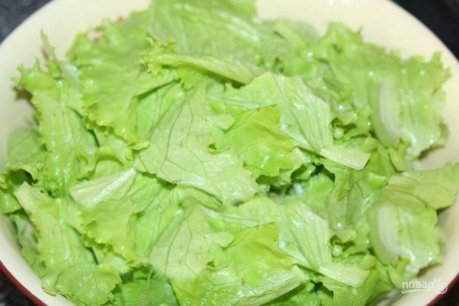 Промойте под проточной водой листья салата, высушите, порвите руками.