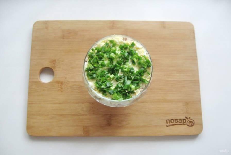 Зеленый лук мелко нарежьте и выложите на слой яиц. Смажьте майонезом.