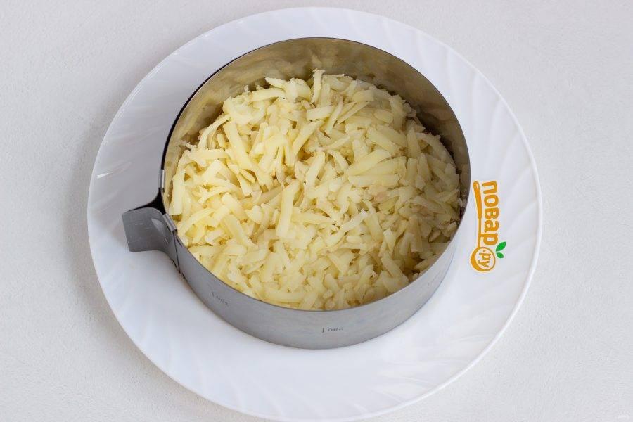 Салат будем выкладывать в кулинарном кольце диаметром 16 см. Первым слоем выложите картофель, натертый на крупной терке. Посолите и смажьте майонезом.