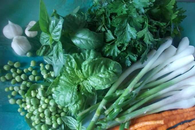 2. Подготовьте зелень.  Я брала различные варианты: зелень петрушки, розмарин, базилик, зеленый лук и укроп. Нарежьте ее мелко и оставьте в стороне.