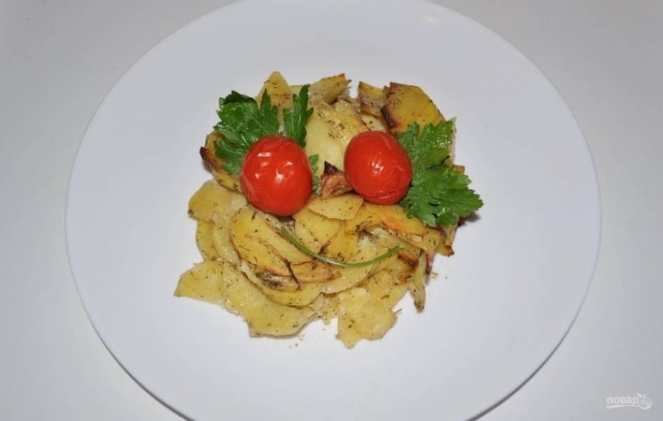 7.Подаю блюдо горячим, с томатами и свежей зеленью, приятного аппетита!