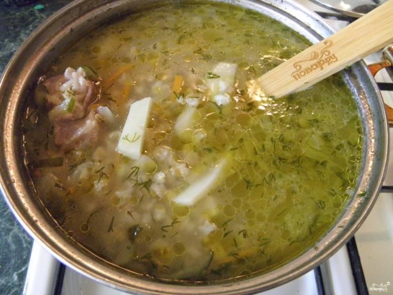Заправьте суп жареными огурцами с овощами и мелко порезанным свежим укропом, проварите минуту. Снимите суп с огня, дайте настояться минут 30-35. Подавайте к столу! Приятного аппетита!