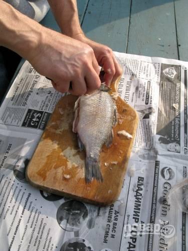 Рыбу почистите и промойте в холодной воде. Часть рыбы (покрупнее) нарежьте на порционные куски и пока отложите в сторону, а мелкую рыбу оставьте целой.