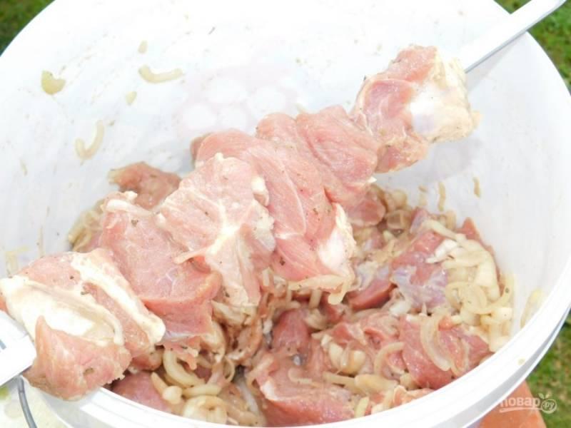 Мясо нанизывайте на шампура и готовьте на горячих углях, поворачивая со всех сторон.