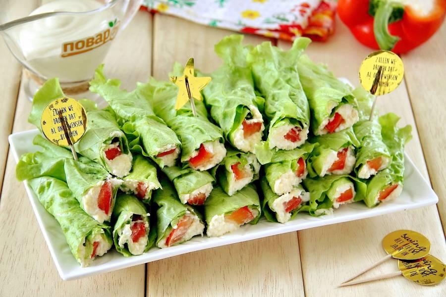 Рулетики из зеленого салата