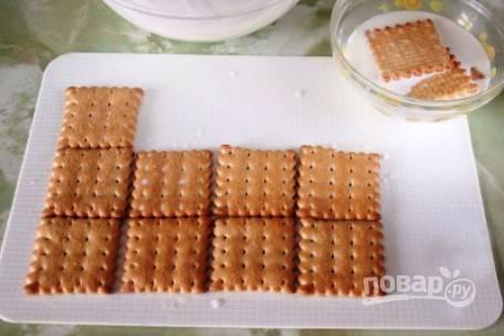 Печенье на пару секунд нужно окунуть в молоко, а затем треть выложить на блюдо вплотную.
