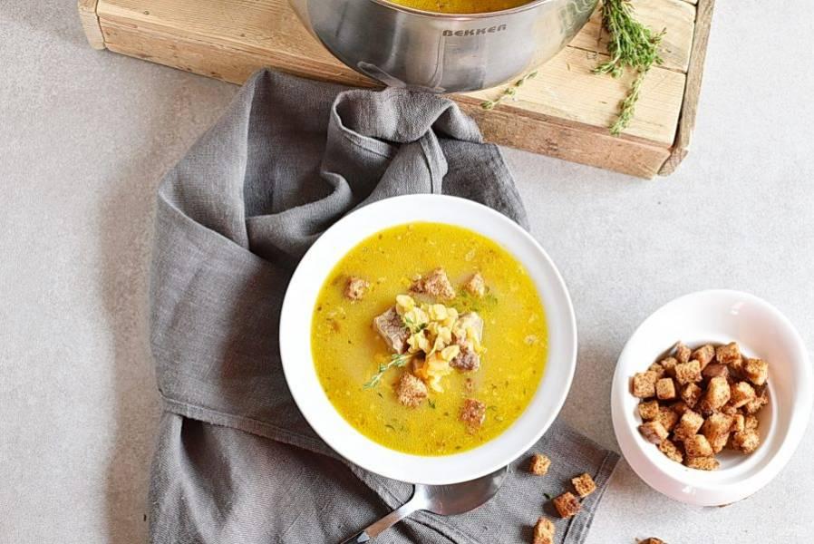 Подавайте суп горячим. Острые сухарики станут отличным дополнением к такому супу.