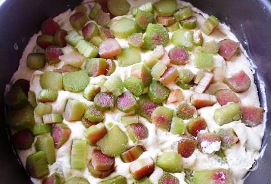 Выложите тесто в форму для запекания, сверху выложите вторую часть ревеня. Отправьте в духовку разогретую до 180 градусов на 1 час.