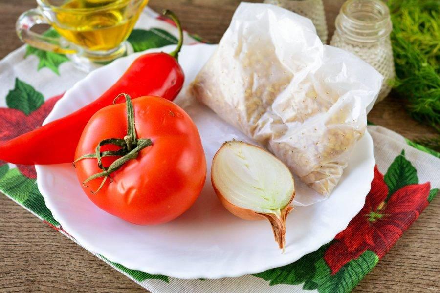 Подготовьте ингредиенты по списку для приготовления гарнира к рыбе.