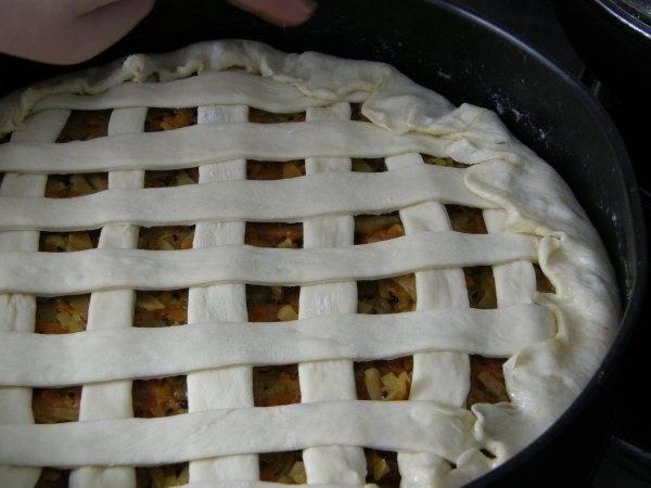 Делаем сеточку. По кругу плотно закройте тесто, чтобы щелей не было. Можно дать пирогу настоятся минут 30.