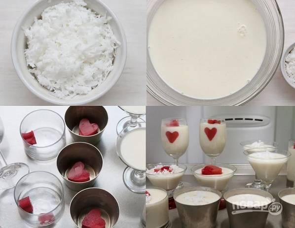 5. По желанию также можно добавить кокосовую стружку в молочную смесь. Так, можно приступать к сборке десерта. В формочки выложите ягодные сердечки и разлейте сливочную массу. Уберите в холодильник до полного застывания.