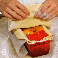Оставшееся тесто раскатать в прямоугольник чуть больше периметра формы. Смазать края прямоугольника водой, накрыть пирог. Защипать края. Сделать в середине 3 маленьких дырочки. Яйцо взбить вилкой, с мазать пирог. Поставить в духовку. Через 15 мин.понизить температуру до 170 С, накрыть пирог концами пергамента. Через 50-55 мин. увеличить температуру духовки до 200 С. Аккуратно освободить пирог ОТ формы, вернуть в духовку. Готовить до хрустящей корочки, около 10 мин. Подать холодным.