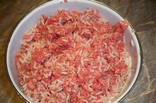 Перемешайте рис с фаршем.