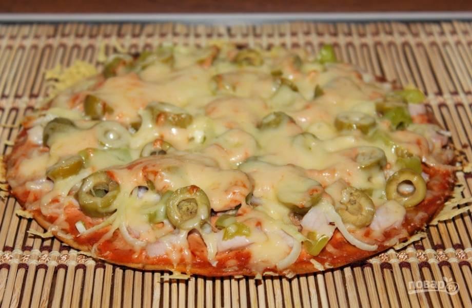 Пицца в духовке (тесто без дрожжей)