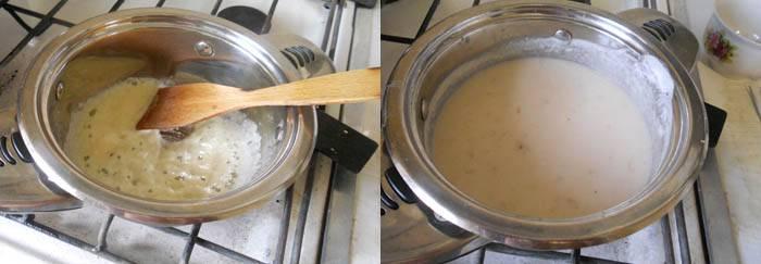 Пока кабачки запекаются, делаем заливку. Для этого муку обжариваем на сливочном масле. Немного остужаем и разводим теплым бульоном или водой, хорошо перемешивая, чтобы не было комочков. Добавляем сметану. Варим на медленном огне 5-7 минут. Добавляем оставшийся обжаренный лук, варим еще 2-3 минуты. Выключаем и добавляем по вкусу соль и острый кетчуп.