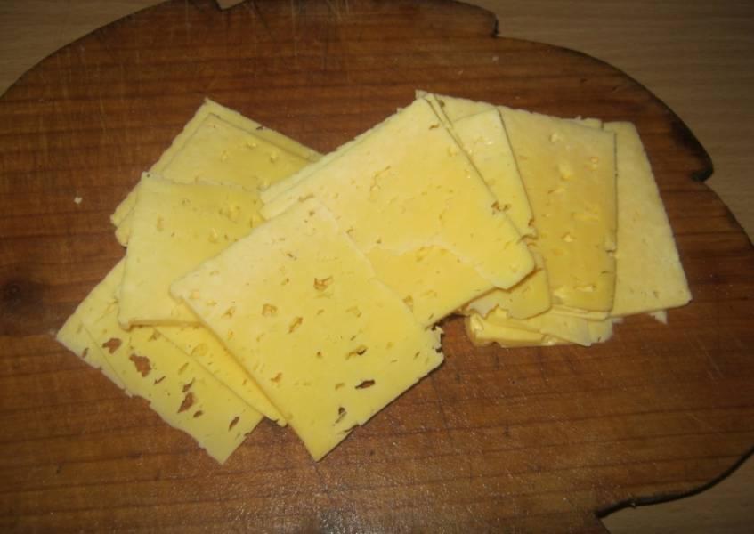 Сыр нарежьте пластинками.