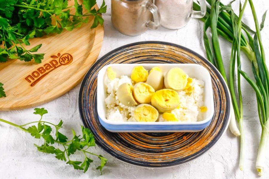 Отварные куриные яйца очистите от скорлупы и промойте в воде. Разрежьте каждое пополам, чтобы получились лодочки. В глубокую емкость выложите творог любой жирности, а на него — куриные желтки.
