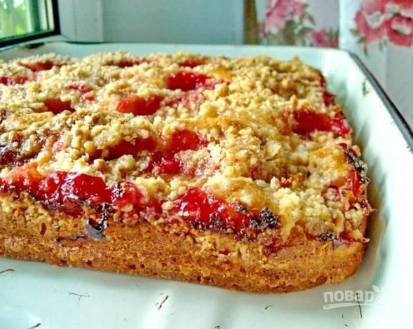 9. Подавайте пирог из слив, аккуратно разрезая острым ножом. Приятного чаепития!