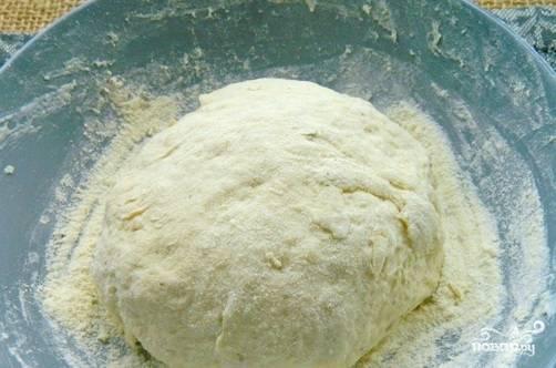 Замесите тесто сухими руками, добавляя муки при необходимости. Скатайте его в шар и оставьте под влажным полотенцем в тёплом месте на 15 минут.