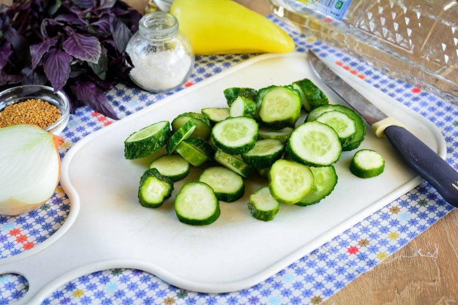 Огурцы промойте, срежьте хвостики. Овощи нарежьте колечками.