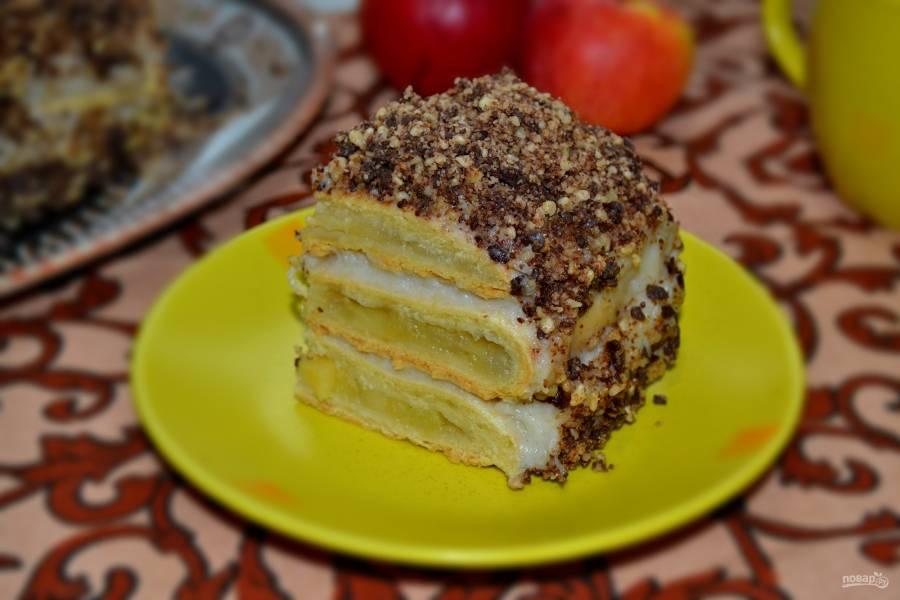 Яблочный торт с коричным кремом