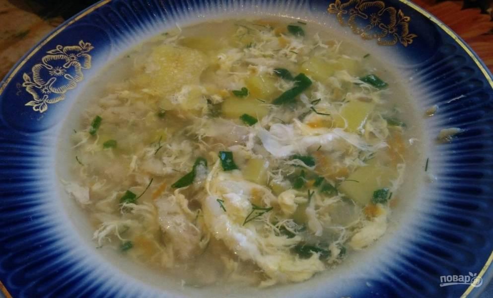 Суп из хека с рисом и яйцом
