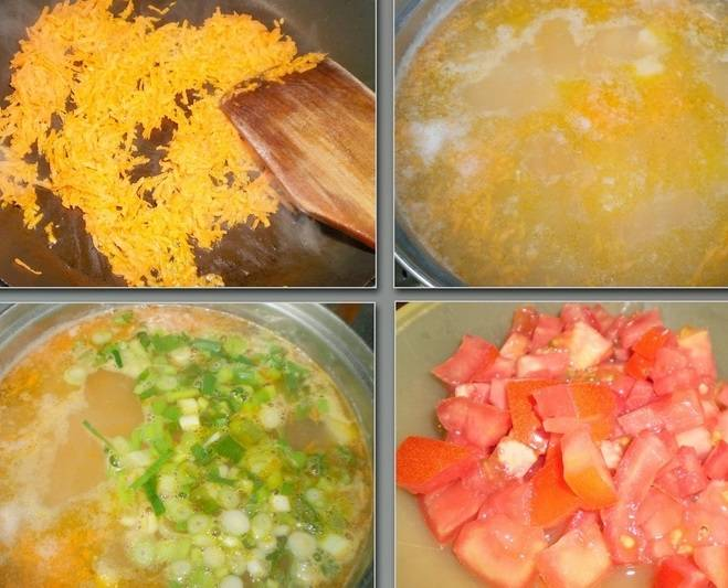 Морковь тушим в сковороде с добавлением масла. Затем добавляем лук и тушим еще несколько минут. Помидоры ошпариваем кипятком и снимаем с них шкурку. Тушеные морковь и лук добавьте в кастрюлю.