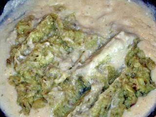 Муку обжарить на сухой сковороде, добавить полстакана молока, варить на медленном огне 3 минуты, добавить измельченные баклажаны, соль и белый перец. Тушить еще 5-6 минут. Соус готов.