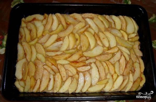 На смазанный растительным маслом противень выливаем половину теста и выкладываем поверх него нарезанные яблоки.