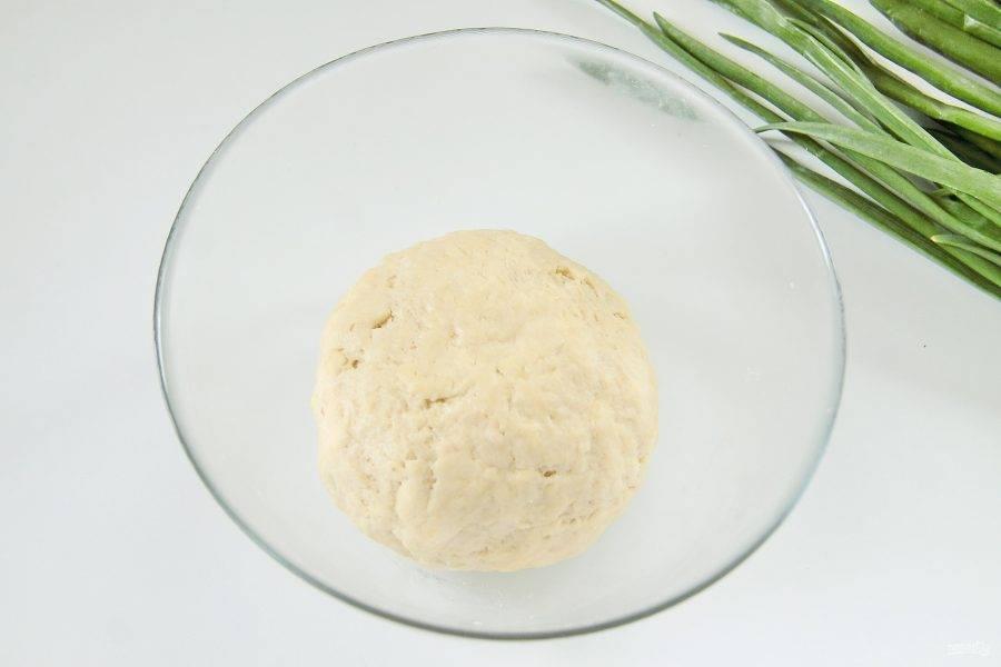 Замесите руками мягкое не липкое тесто. Соберите его в шар, заверните в пищевую пленку и уберите в холодильник на 20-30 минут.