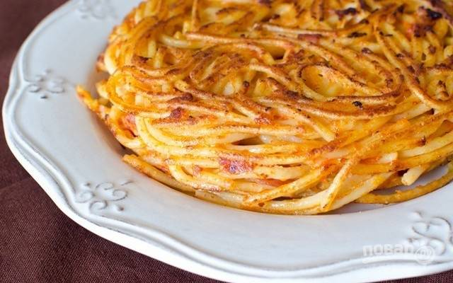 Фриттата из спагетти