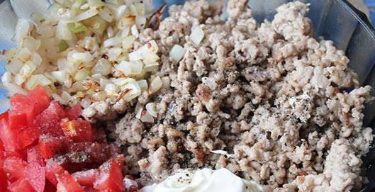 1. Фарш смешаем с мелко порезанными помидорами, луком, сметаной и специями. Должна получится однородная вязкая масса.