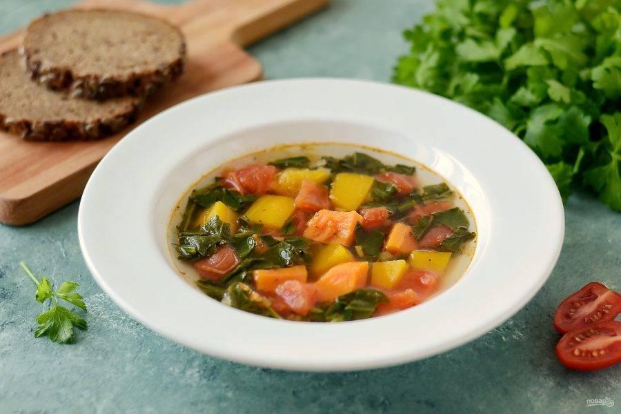 Суп из тыквы и шпината готов, приятного аппетита!