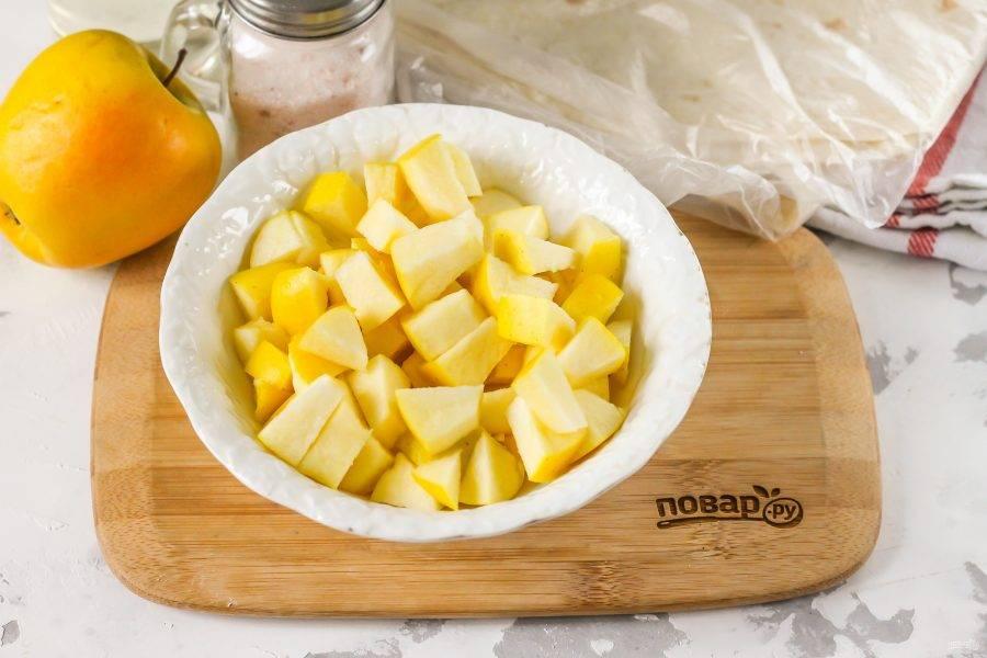 Последними нарежьте кубиками промытые яблоки, вырезая черенки из фруктов вместе с семенами. Сорт яблок может быть любым.