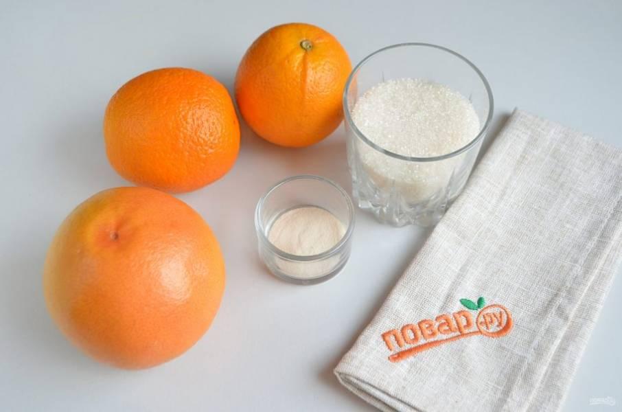 1. Итак, подготовьте необходимые продукты. Вымойте апельсины, грейпфрут.