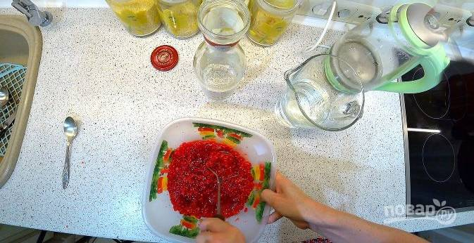 Толкушкой, вилкой или ложкой перемните ягоды в кашицу, залейте водкой и оставьте настаиваться неделю.