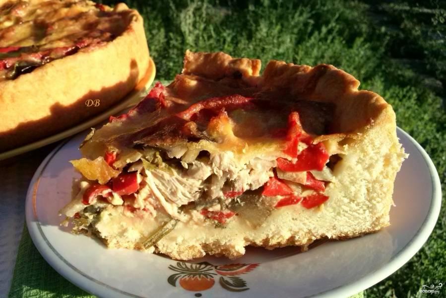 Пирог с баклажанами и куриной грудкой