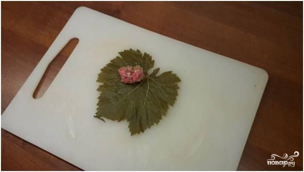 3.Приступайте к приготовлению блюда. Переверните листик прожилками вверх. Уложите немного фарша. Классическое блюдо имеет фарша ровно столько, сколько необходимо на один укус.