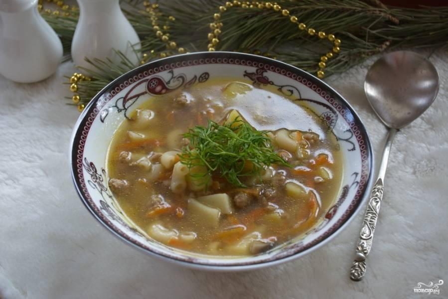 Суп  с фаршем и макаронами