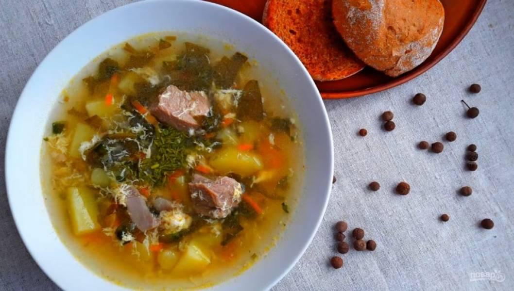 6. Дайте супу настояться 30 минут. Подавайте со сметаной. Приятного аппетита!