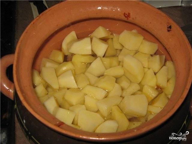Картошку чистим и нарезаем кубиками. Раскладываем по горшочкам и заливаем водой так, чтобы она чуть закрывала картошку. Закрываем горшочек крышкой и ставим в духовку. Запекаем при 200 градусах до готовности картошки. Примерно минут на 45.