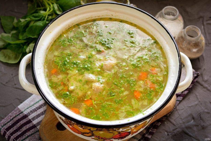 В готовый суп всыпьте любую мелко рубленную зелень. Проварите несколько секунд при небольшом кипении и снимайте с огня. Суп как в детском саду готов. Суп прикройте крышкой и дайте настояться 10-15 минут.