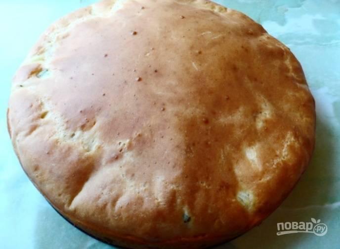 6.  После запекания даем пирогу немного остыть, после чего нарезаем и подаем к столу.